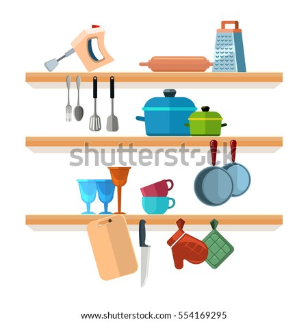 Kitchen Shelves Cooking Tools Hanging Pots Stock Vector ...