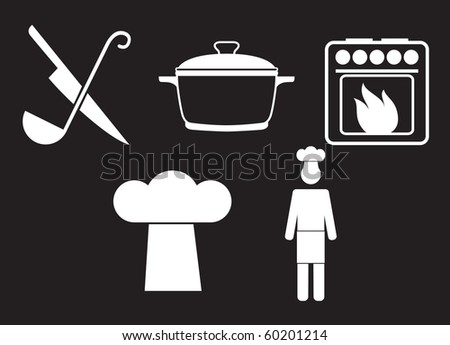 Kitchen signs set - stock vector