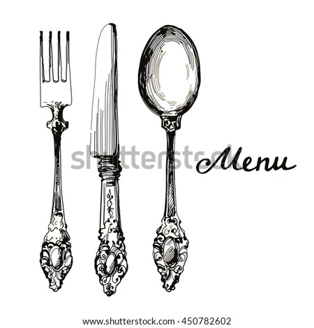 Vintage Kitchen Utensils Illustration antique silverware stock images, royalty-free images & vectors