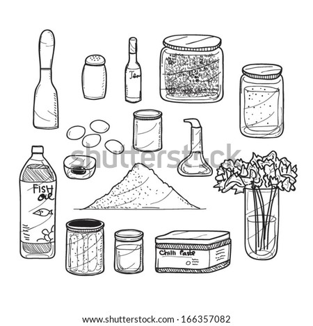 Kitchen stuff with spicy and herbs doodle - stock vector