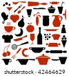 Kitchen supplies and food icons. - stock vector