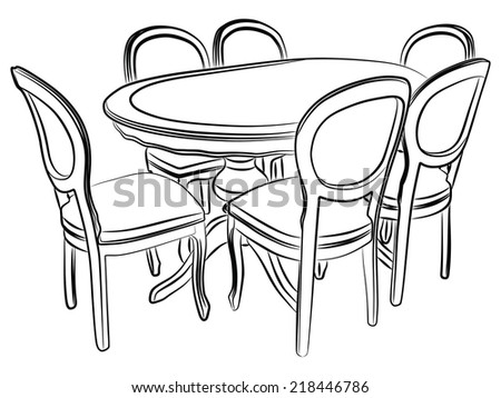 kitchen table clipart black and white. kitchen table and chairs clipart black white a