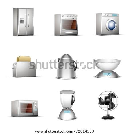 kitchen technique vector icon set - stock vector