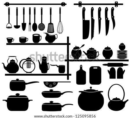 Kitchen tool collection - vector silhouette - stock vector