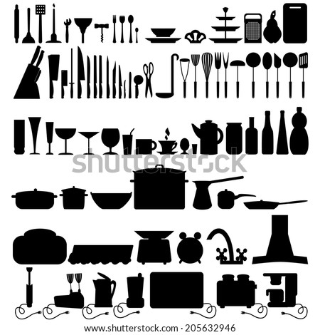 Kitchen tool icons collection  - stock vector