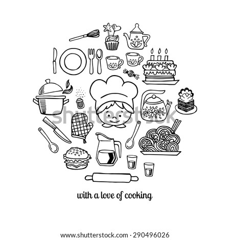 Kitchen tools and cook sketch icons on a white background isolation vector set. Background Kitchen. - stock vector