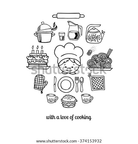 Kitchen tools and cook sketch icons on a white background isolation vector set. Background Kitchen.