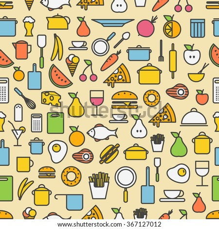 Kitchen tools and meal silhouette icons. Seamless pattern  - stock vector