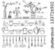 kitchen tools and utensils. Vector illustration - stock vector
