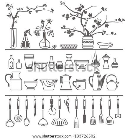 Vintage Kitchen Utensils Illustration kitchen utensils on shelves 8 stock vector 137555645 - shutterstock