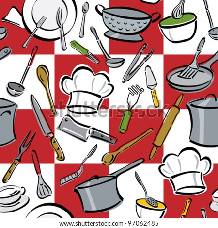 Kitchen Tools Check seamless pattern of common utensils used for cooking and eating. Individual items are grouped for easy editing. - stock vector
