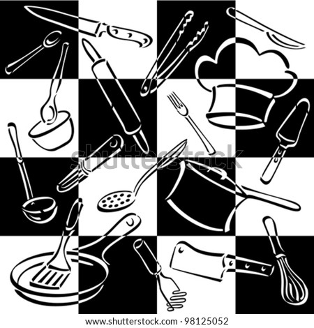 Kitchen Tools Checkerboard pattern of commonly-used utensils and equipment for preparing and eating food with bold black and white check design. Vector file has compound paths. - stock vector