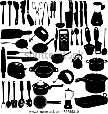 kitchen tools collection - vector - stock vector