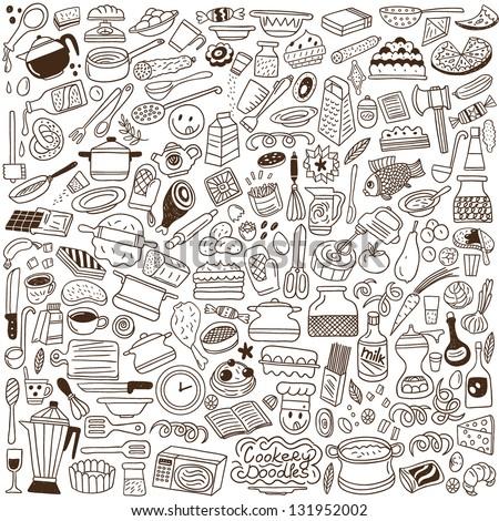 kitchen tools - doodles - stock vector