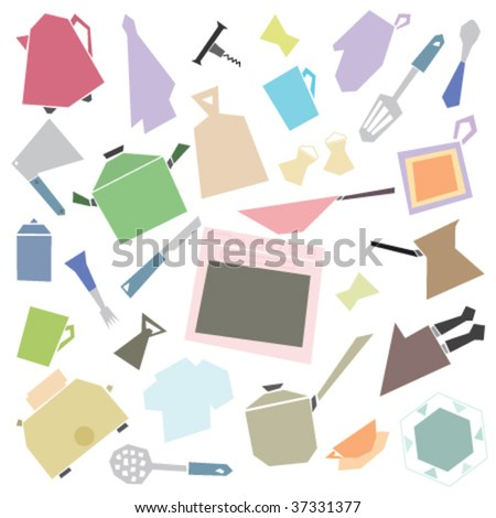 Kitchen tools isolated on white background, file is very easy to edit, objects are very flexible to resize, modify and rotate. - stock vector
