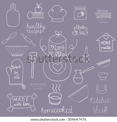 Kitchen tools set Kitchen utensils isolated Kitchen equipment collection Kitchen silhouette Kitchen background Hand drawn kitchen doodles Home made food symbols of Apron, spatula, cook hat, soup bowl - stock vector