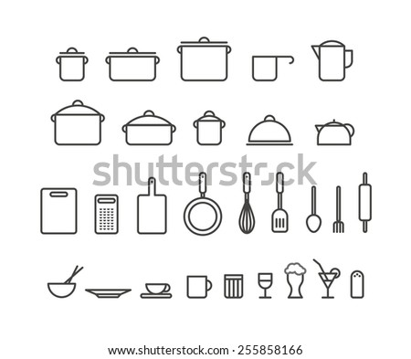 Kitchen tools silhouette icons collection. Design elements - stock vector