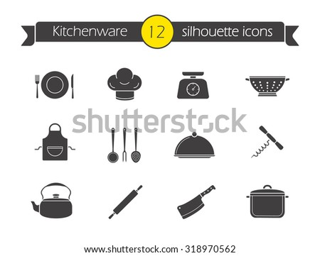 Kitchen tools silhouette icons set. Household kitchen items. Kitchenware black symbols. Restaurant cooking utensil. Chef hat and butcher cleaver emblem. Corkscrew opener. Isolated vector illustrations - stock vector