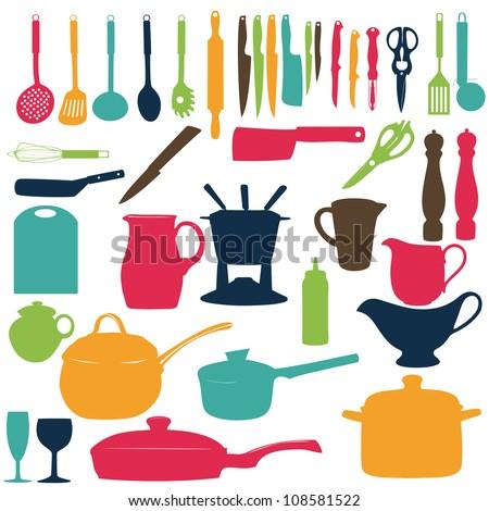 Kitchen tools Silhouette Vector illustration - stock vector