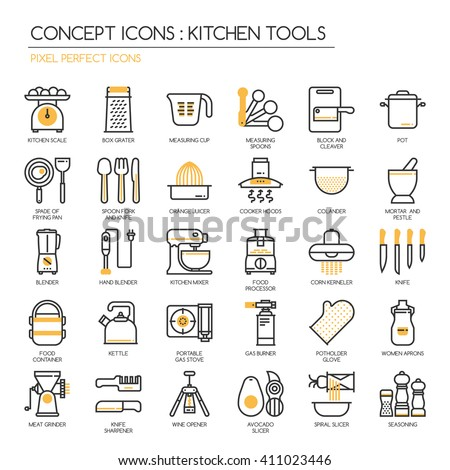 Kitchen Tools , thin line icons set ,pixel perfect icons - stock vector