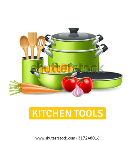 Kitchen tools with vegetables such as onions tomatoes and peppers realistic vector illustration  - stock vector