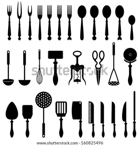 Kitchen Utensils Silhouette Vector Free kitchen tools pattern design restaurant menu stock vector