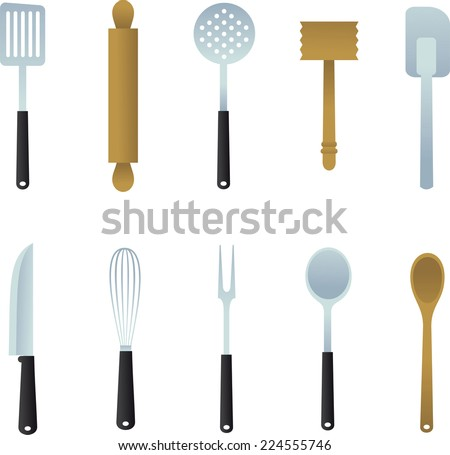 Kitchen Utensil collection, Vector illustration cartoon.  - stock vector