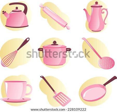 Kitchen Utensils and Appliances vector cartoon for little girls. - stock vector