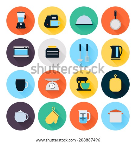 Kitchen utensils and cookware flat icons set, cooking tools and kitchenware equipment, serve meals and food preparation elements. Modern design style vector illustration symbol collection.  - stock vector