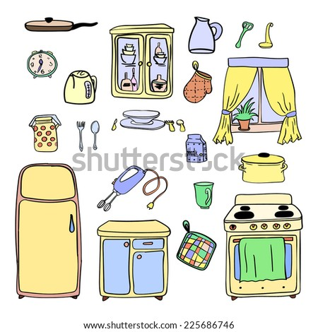Kitchen utensils and cookware hand drawn icons set, cooking tools and kitchenware equipment, cartoon design of elements - stock vector