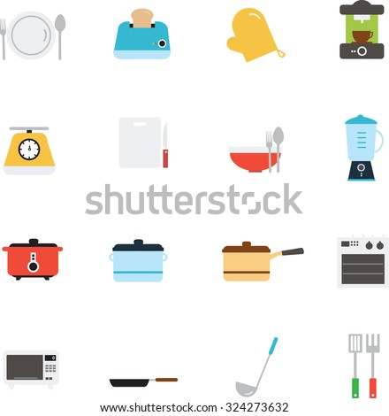 Kitchen utensils and cookware icon - stock vector
