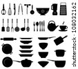 Kitchen utensils and tool icon set - stock photo