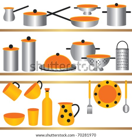 Kitchen utensils composition Kitchen utensils on shelves that could be used together as composition or individually as separate objects. - stock vector