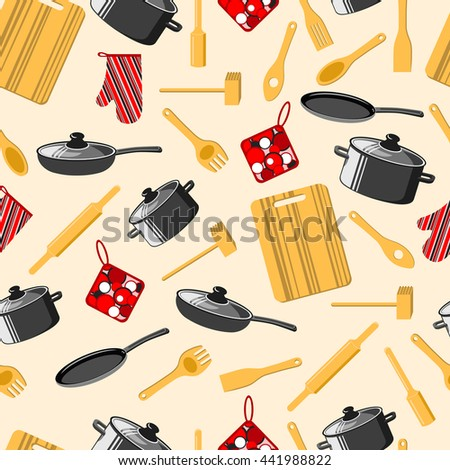 Kitchen utensils. Cooking. Seamless background. Frying pan, saucepan, cutting Board, rolling pin and other. Vector illustration. - stock vector