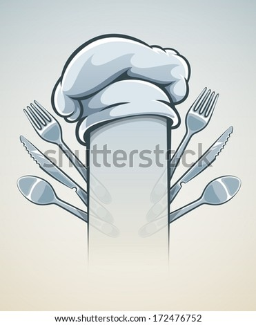 Kitchen utensils for cooking fork knife spoon and cap. Eps10 vector illustration. - stock vector