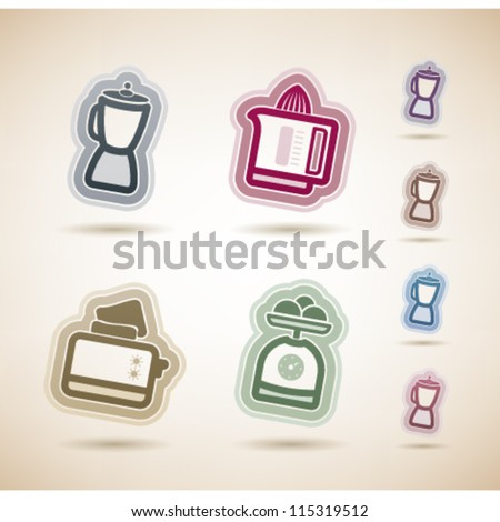 Kitchen utensils from left to right:   Blender, Juicer, Toaster, Kitchen scale. - stock vector