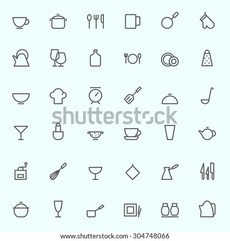 Kitchen utensils icons, simple and thin line design - stock vector