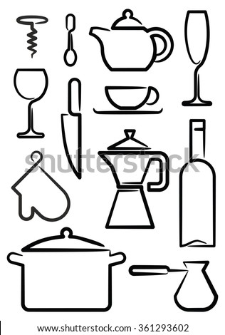 Kitchen utensils on white background, editable vector images set - stock vector