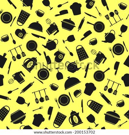 Kitchen utensils. Seamless pattern. - stock vector