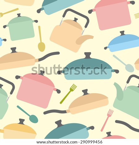 Kitchen utensils seamless pattern. Background of colored glassware. Forks and spoons, pots and pans. Vector illustration - stock vector