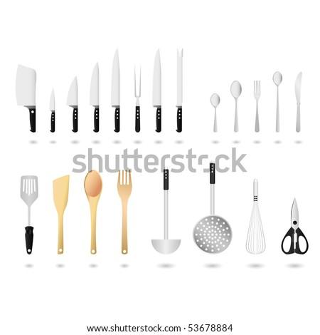 Kitchen Utensils Set Vector - stock vector