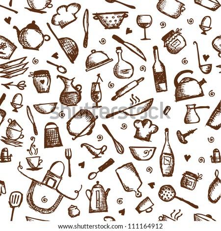 Kitchen utensils sketch, seamless pattern - stock vector