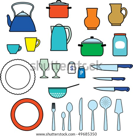 Kitchen utensils teapot, knives, dishes, cups etc. - stock vector