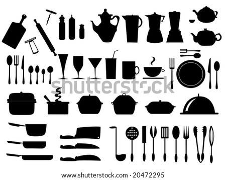 kitchen utensils vector - stock vector