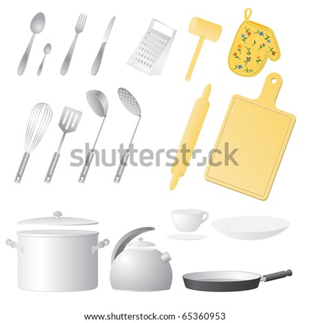 Kitchen utensils. Vector illustration. - stock vector