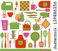 Kitchen vector background. - stock vector