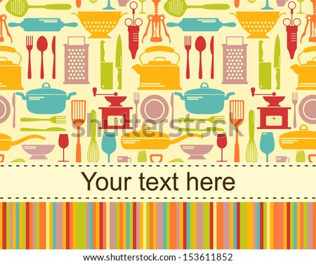 stock vector kitchen vector background with place for text 153611852 - Каталог — Фотообои «Еда, фрукты, для кухни»