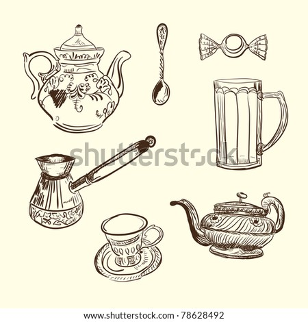 Kitchen vector devices. Coffee teapot cup spoon sweet - stock vector