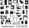 Kitchen ware and home appliances icon set - stock vector