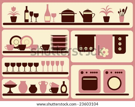 Kitchen ware and home objects set. Vector illustration. - stock vector